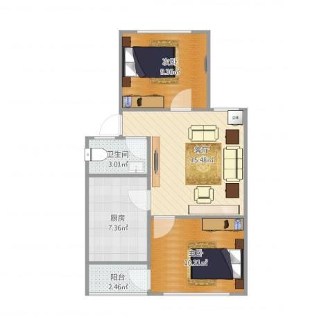 制锦市小区2室1厅1卫1厨65.00㎡户型图