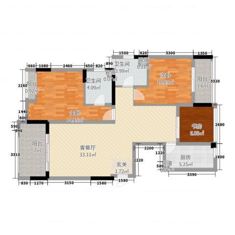 天地华城3室1厅2卫1厨113.00㎡户型图