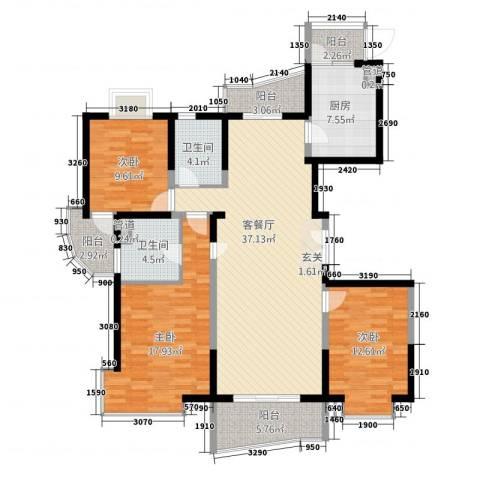 虹叶茗园3室1厅2卫1厨154.00㎡户型图