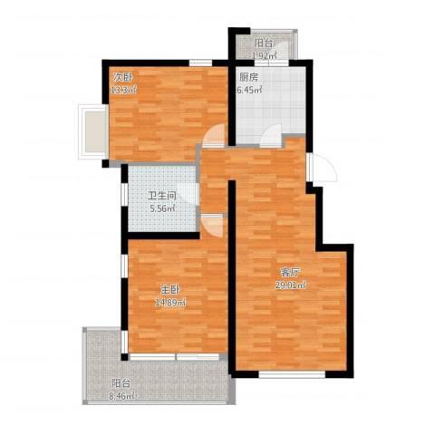 锦绣天下2室1厅1卫1厨113.00㎡户型图