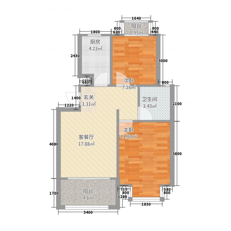 南山丹岭福康园6.20㎡户型2室1厅1卫1厨