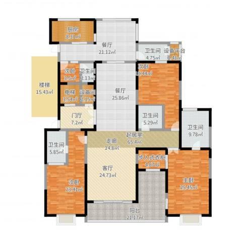 自在山4室1厅5卫1厨267.17㎡户型图