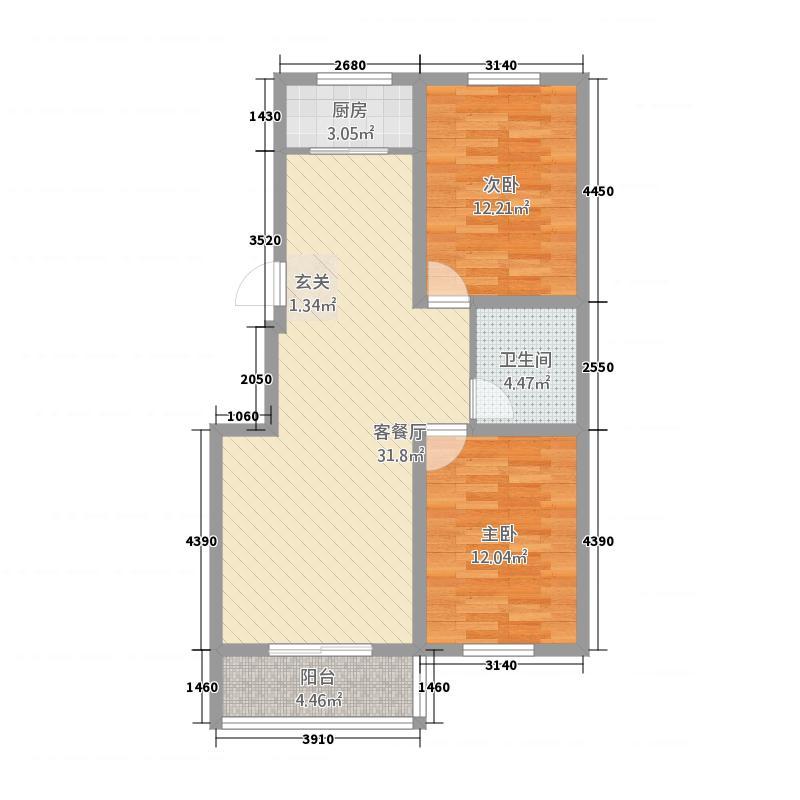 华安凤城丽景1.20㎡B1图库・95户型2室2厅1卫
