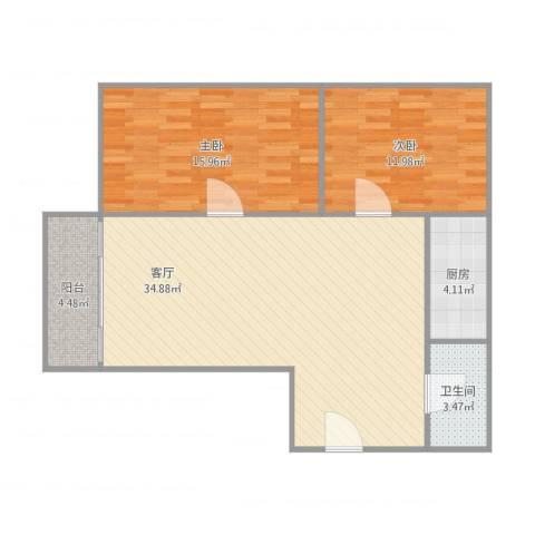 惠景城2室1厅1卫1厨100.00㎡户型图