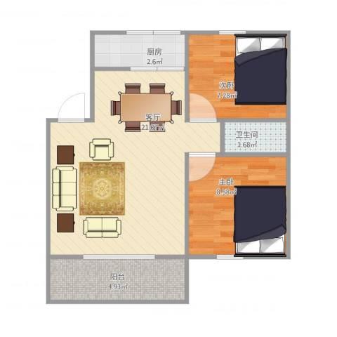 馨泰花苑2室1厅1卫1厨50.24㎡户型图