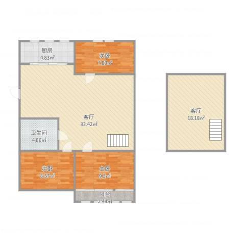 经纬城市花园3室2厅1卫1厨120.00㎡户型图