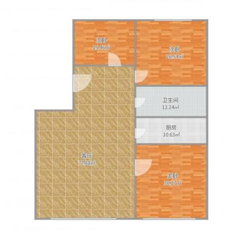 双兴南区3室1厅1卫1厨226.00㎡户型图
