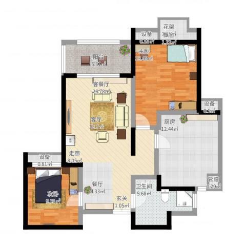 绿地波士顿公馆2室1厅6卫1厨113.00㎡户型图