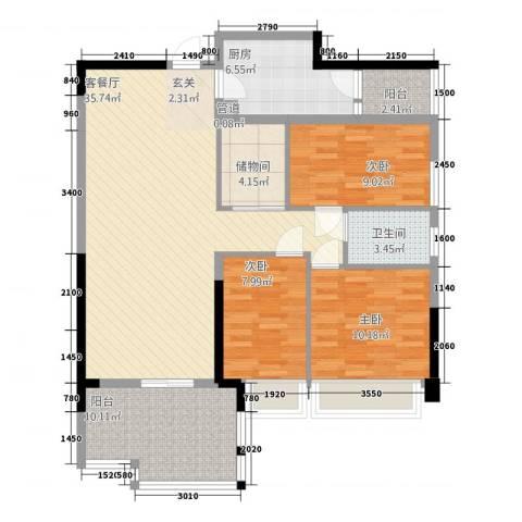 御海湾山庄3室1厅1卫1厨89.67㎡户型图