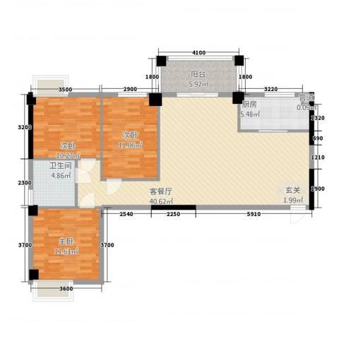 富安・森活印象3室1厅1卫1厨126.00㎡户型图