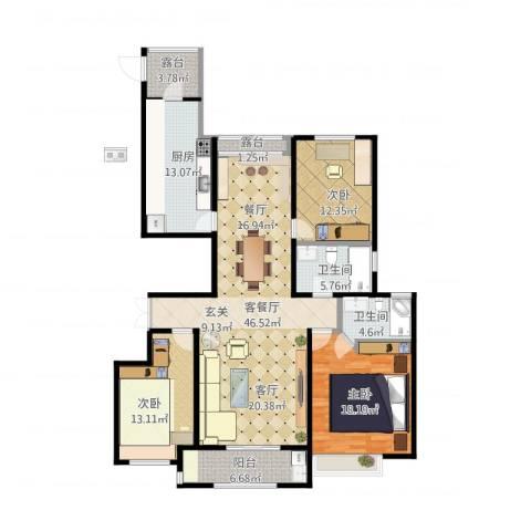 安阳万达广场3室1厅2卫1厨175.00㎡户型图