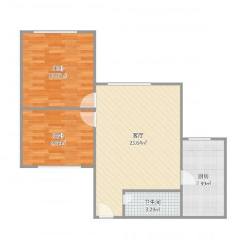 棠德花园2室1厅1卫1厨78.00㎡户型图