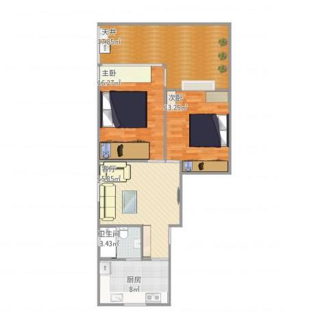 紫竹小区2室1厅1卫1厨100.00㎡户型图