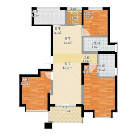 九龙仓雅戈尔铂翠湾2室1厅5卫1厨111.00㎡户型图