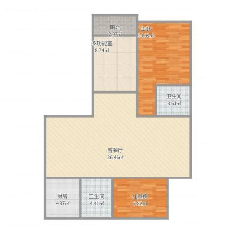 爱家亚洲花园2室1厅2卫1厨111.00㎡户型图