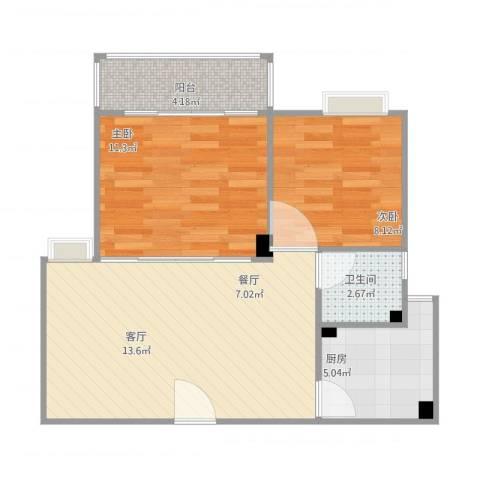 江畔花园3期3022室1厅1卫1厨71.00㎡户型图
