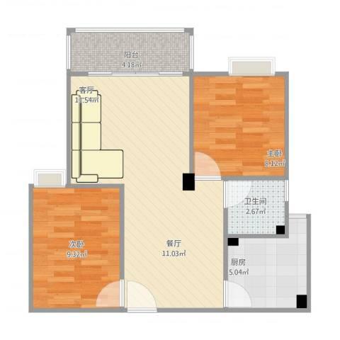江畔花园3期3022室1厅1卫1厨73.00㎡户型图