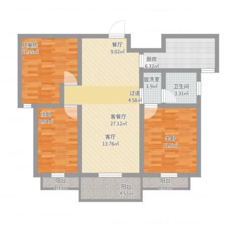 山河佳苑3室2厅1卫1厨114.00㎡户型图
