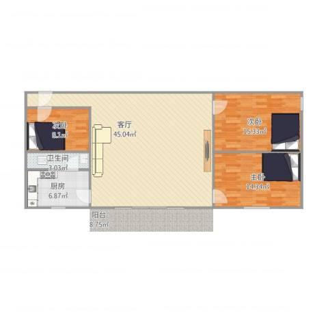 罗湖花园嘉福楼98方3室1厅1卫1厨123.00㎡户型图