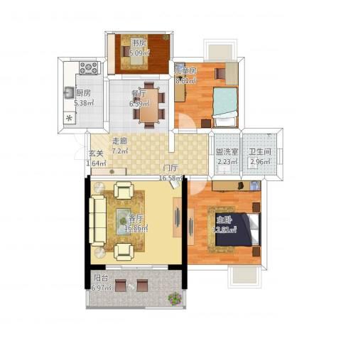 孔目江1号3室2厅1卫1厨111.00㎡户型图