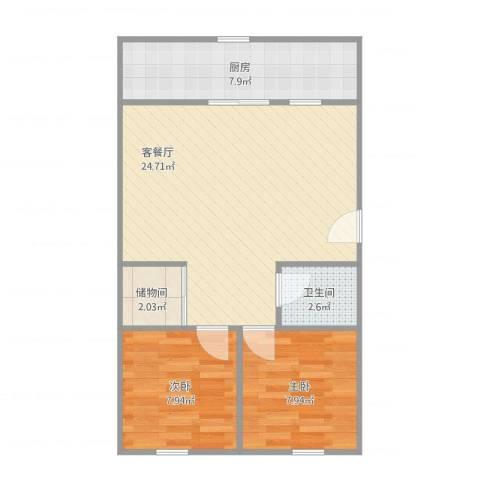 师范小区2室1厅1卫1厨72.00㎡户型图