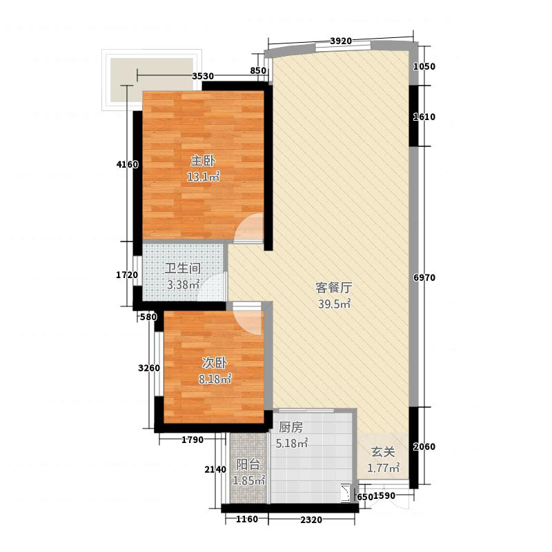 置盛西苑A栋E户型2室2厅1卫1厨