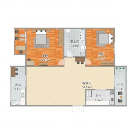 金园金色家园3室1厅1卫2厨172.00㎡户型图