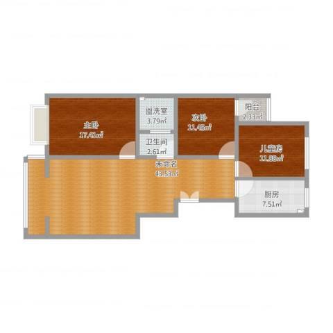 税务局家属院3室1厅2卫1厨142.00㎡户型图