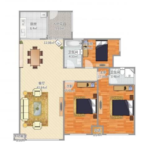 科友・北滨华府3室1厅2卫1厨111.71㎡户型图
