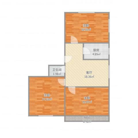 枣园北里3室1厅1卫1厨103.00㎡户型图