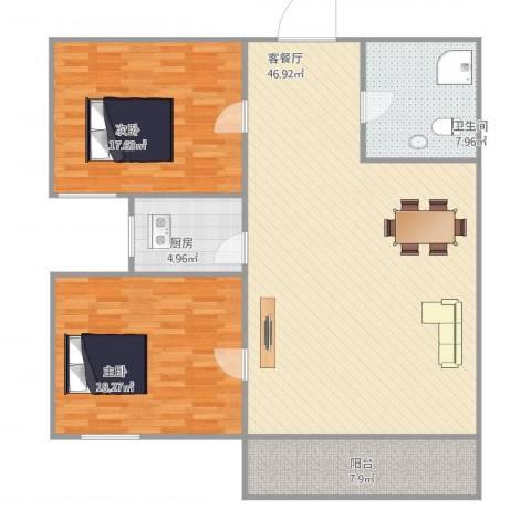 新鹏・四季风景苑2室1厅1卫1厨137.00㎡户型图