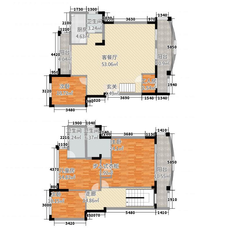 良缘雅苑247.30㎡C型复式户型5室2厅2卫1厨