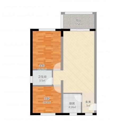 文昌金座2室1厅1卫1厨90.00㎡户型图