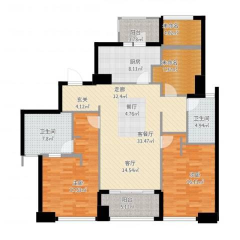 姑苏裕沁庭锦苑2室1厅2卫1厨155.00㎡户型图