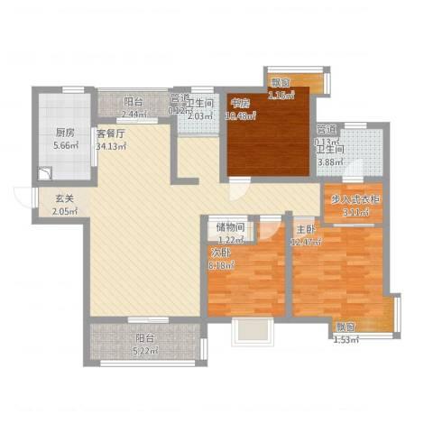 第五元素3室1厅2卫1厨131.00㎡户型图