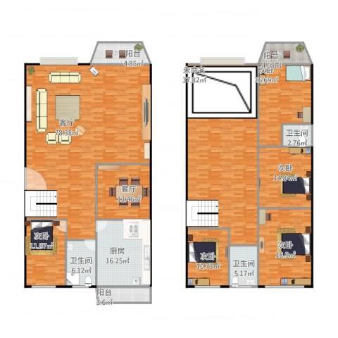阳鸿新城5室2厅3卫1厨348.00㎡户型图