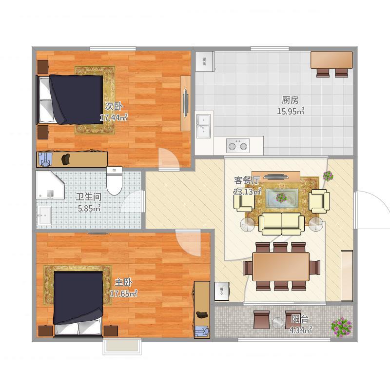 90方户型两室一厅