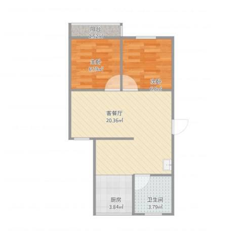 红山路190号2室1厅1卫1厨59.00㎡户型图