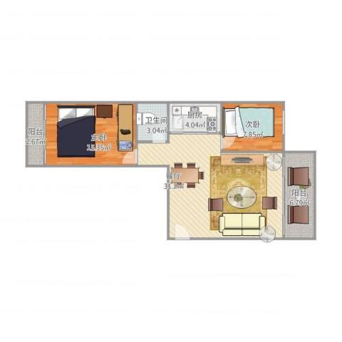 祥店新村2室1厅1卫1厨95.00㎡户型图