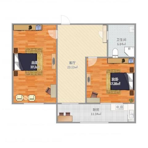里程巷2室1厅1卫1厨114.00㎡户型图