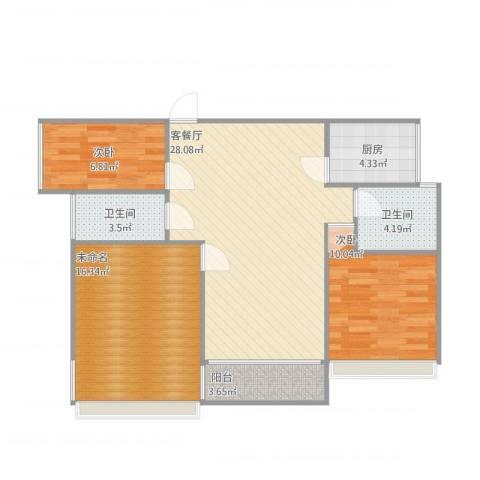 嘉信城市广场二期2室1厅2卫1厨104.00㎡户型图