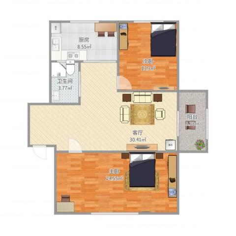锦绣园2室1厅1卫1厨115.00㎡户型图