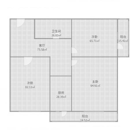 新闻西里3室1厅1卫1厨536.00㎡户型图