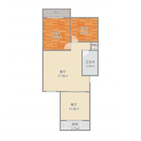 师范小区2室2厅1卫1厨100.00㎡户型图