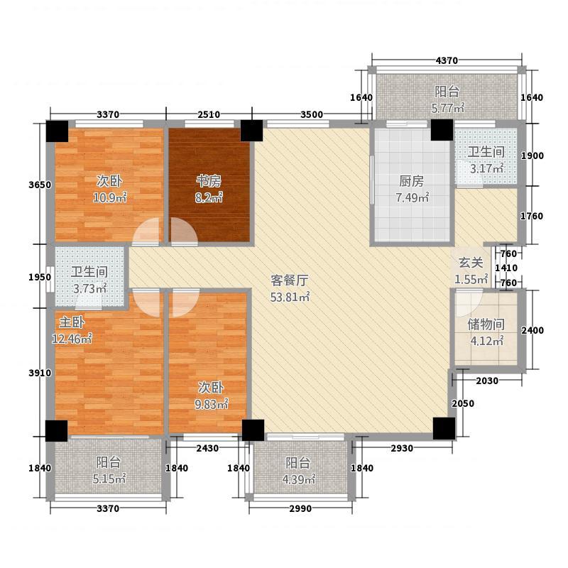京海花园182.47㎡BC座户型4室2厅2卫1厨