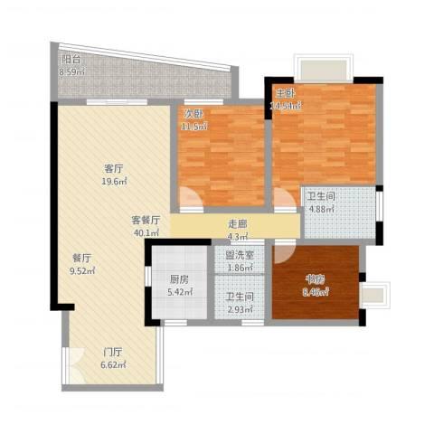 上海城三期天域3室2厅2卫1厨141.00㎡户型图