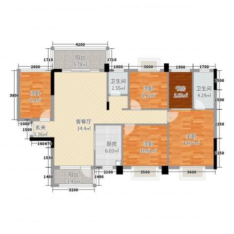 祥和新城5室1厅2卫1厨116.95㎡户型图