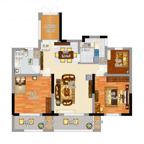日月明园3室1厅1卫1厨127.00㎡户型图