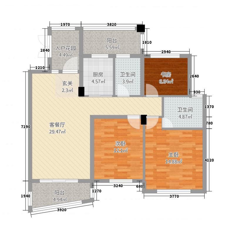 卧龙天香南园131.20㎡卧龙・天香华庭15、16#楼P户型3室2厅2卫1厨