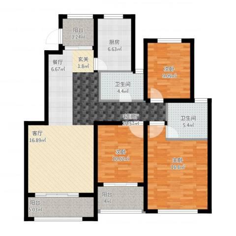 星河蓝湾3室1厅2卫1厨144.00㎡户型图